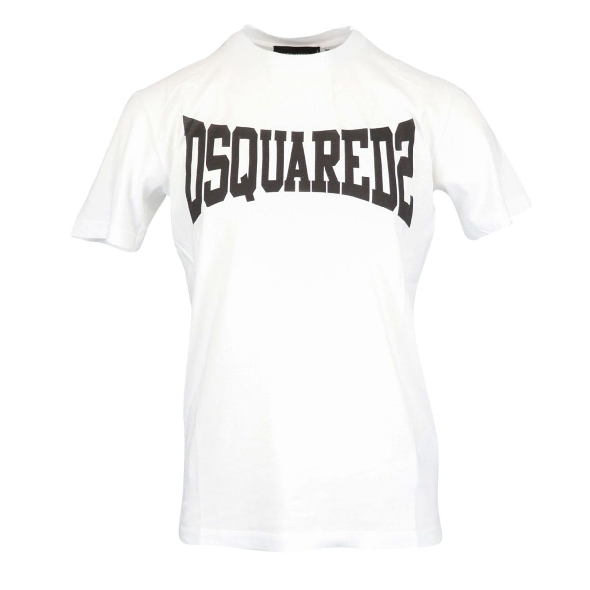 Short-sleeved cotton T-shirt with contrasting logo print White Dsquared2