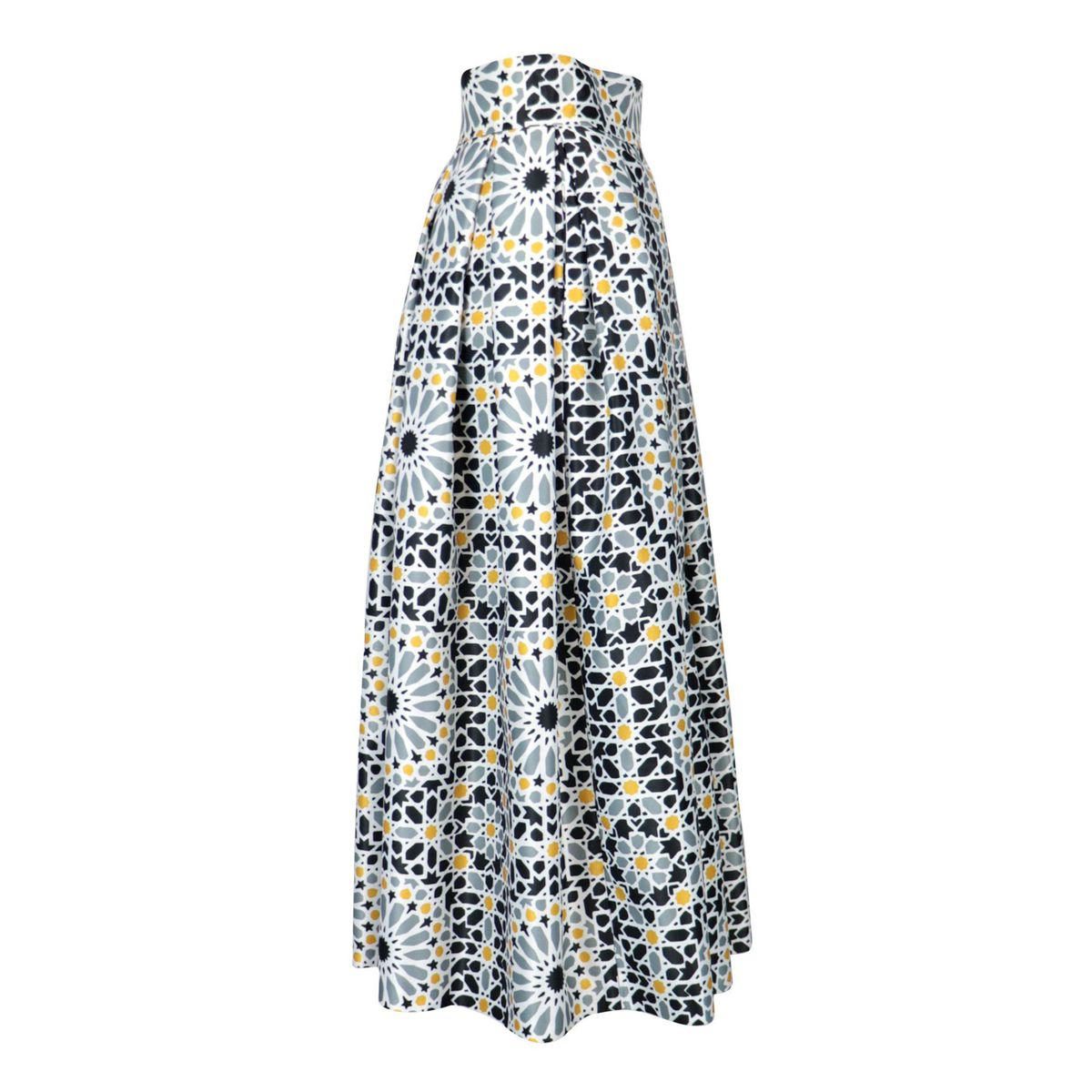 Duchess midi skirt with optical print Gray / yellow GIADA CURTI