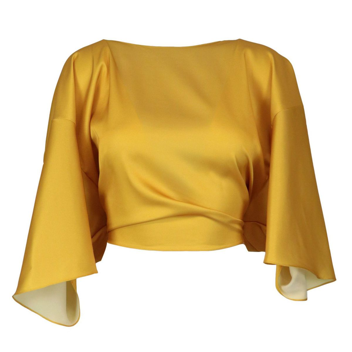Satin top with knot back closure Yellow GIADA CURTI