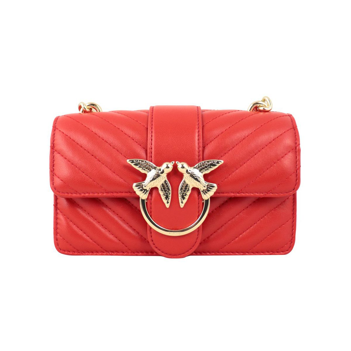 Love Mini leather bag with stitching Red Pinko