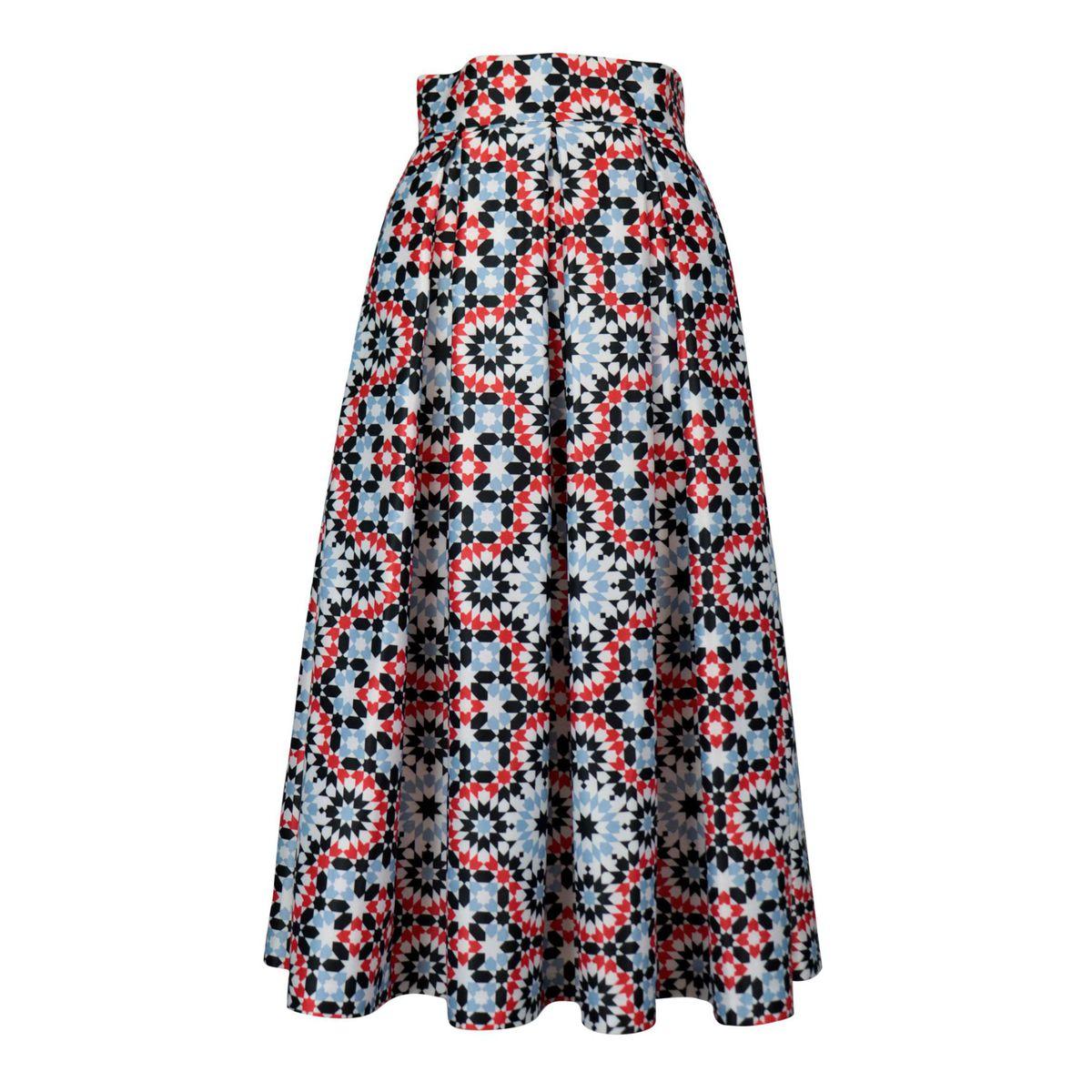 Duchess midi skirt with geometric print Red / celeste GIADA CURTI