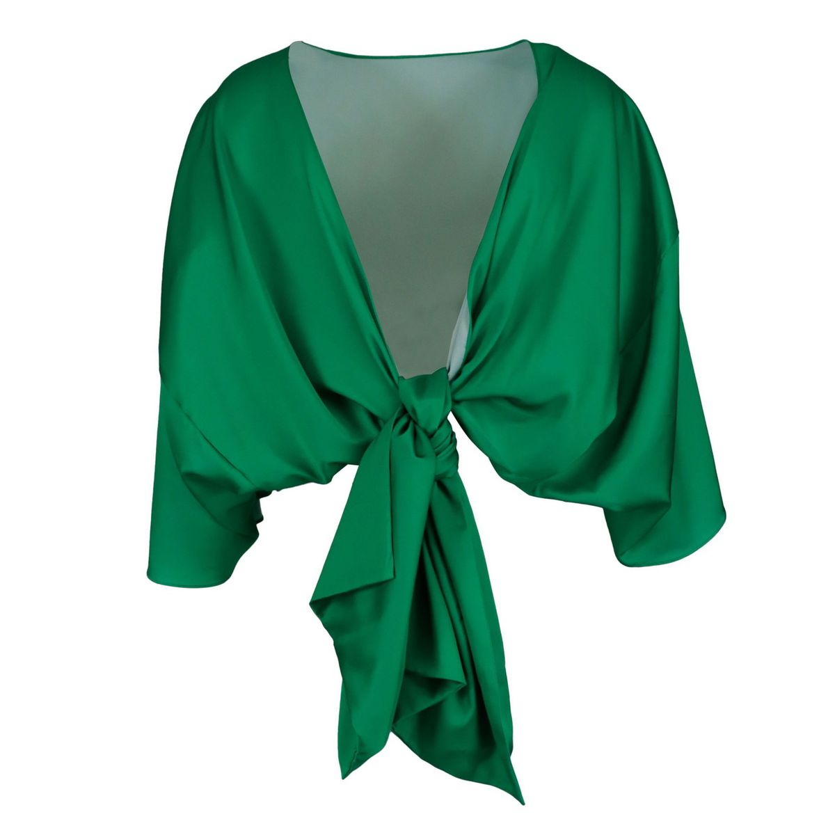 Satin top with rear knot closure Green GIADA CURTI