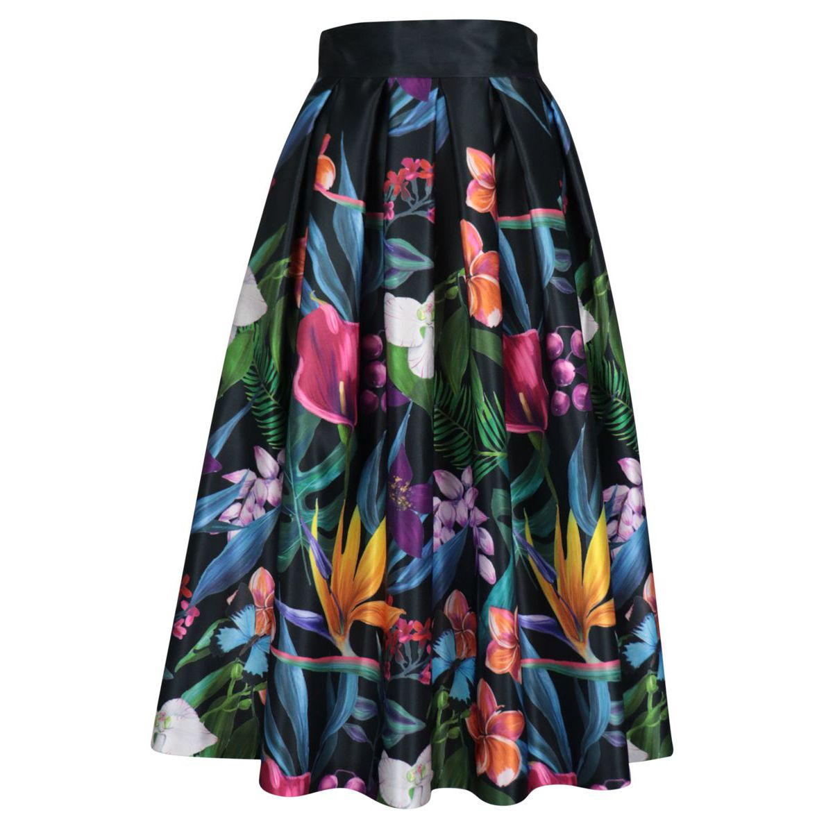 Wide viscose skirt with floral pattern Black / fant.fiori GIADA CURTI