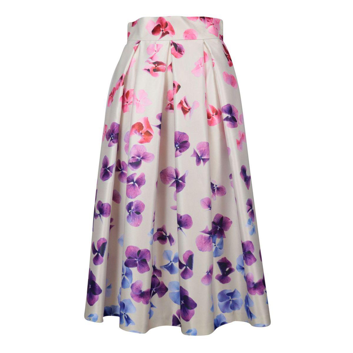 Duchess midi skirt with hydrangea print Beige / violet flowers GIADA CURTI