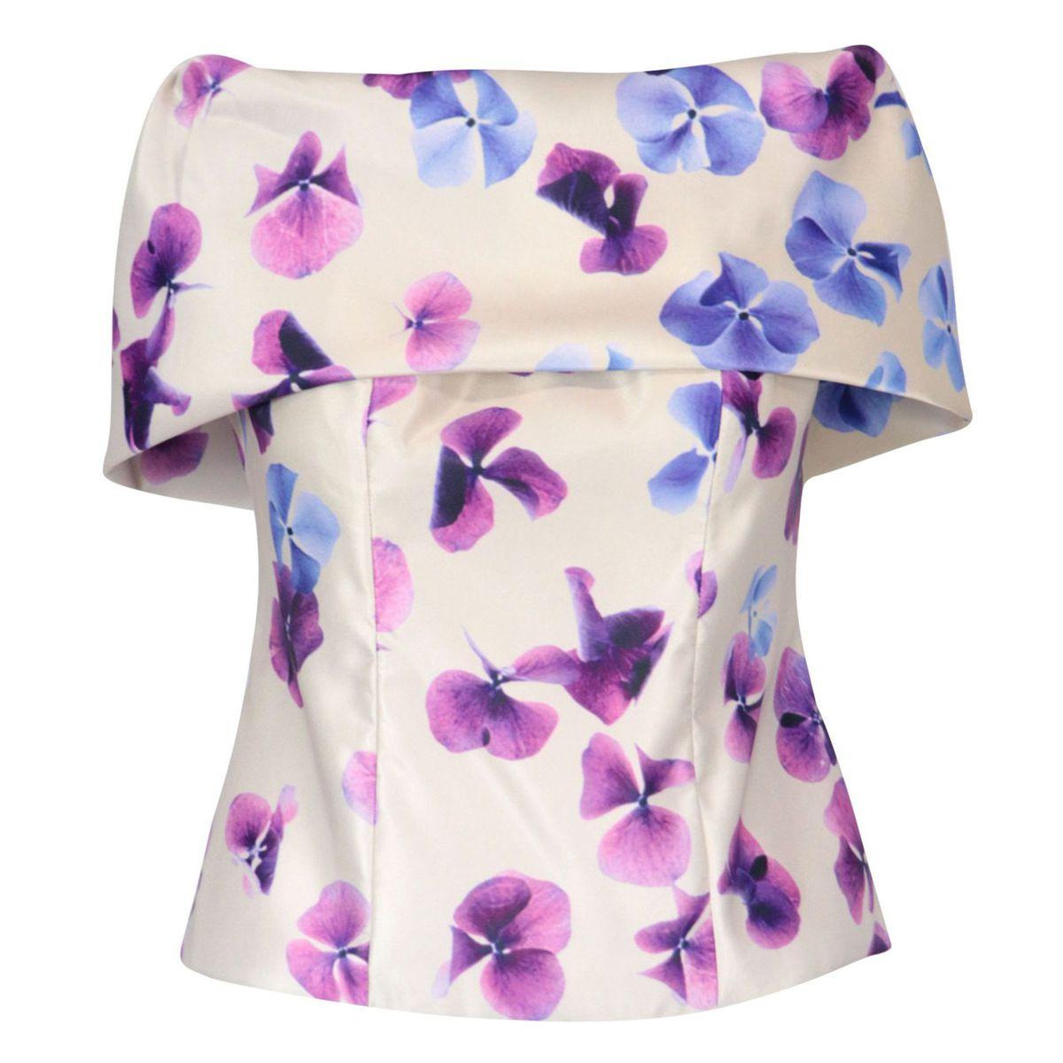 Bustier top in hydrangea printed duchess Beige / violet flowers GIADA CURTI