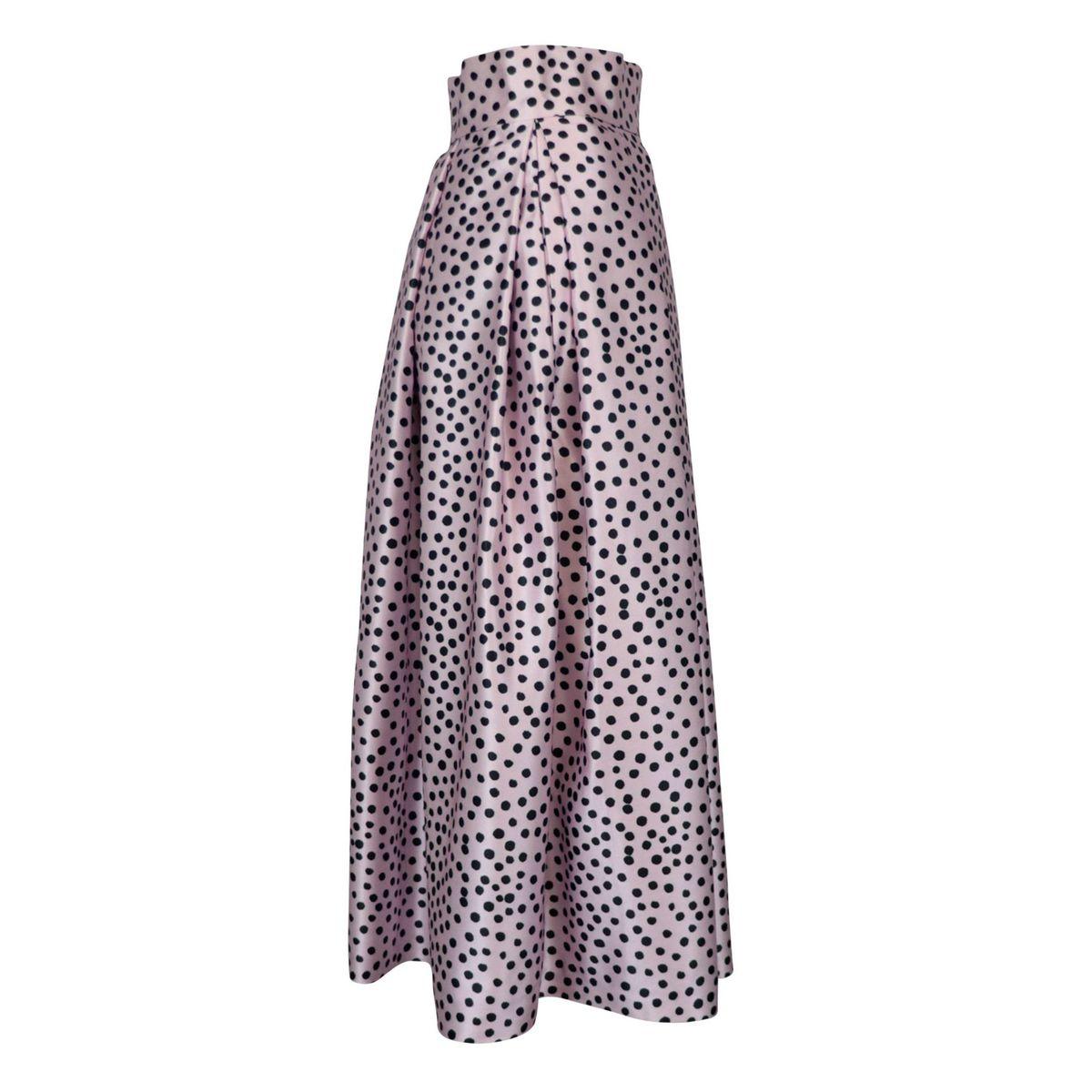 Duchess-print midi skirt Pink / black polka dots GIADA CURTI