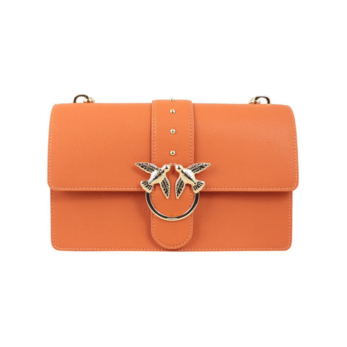 Love Classic bag in textured leather Orange Pinko