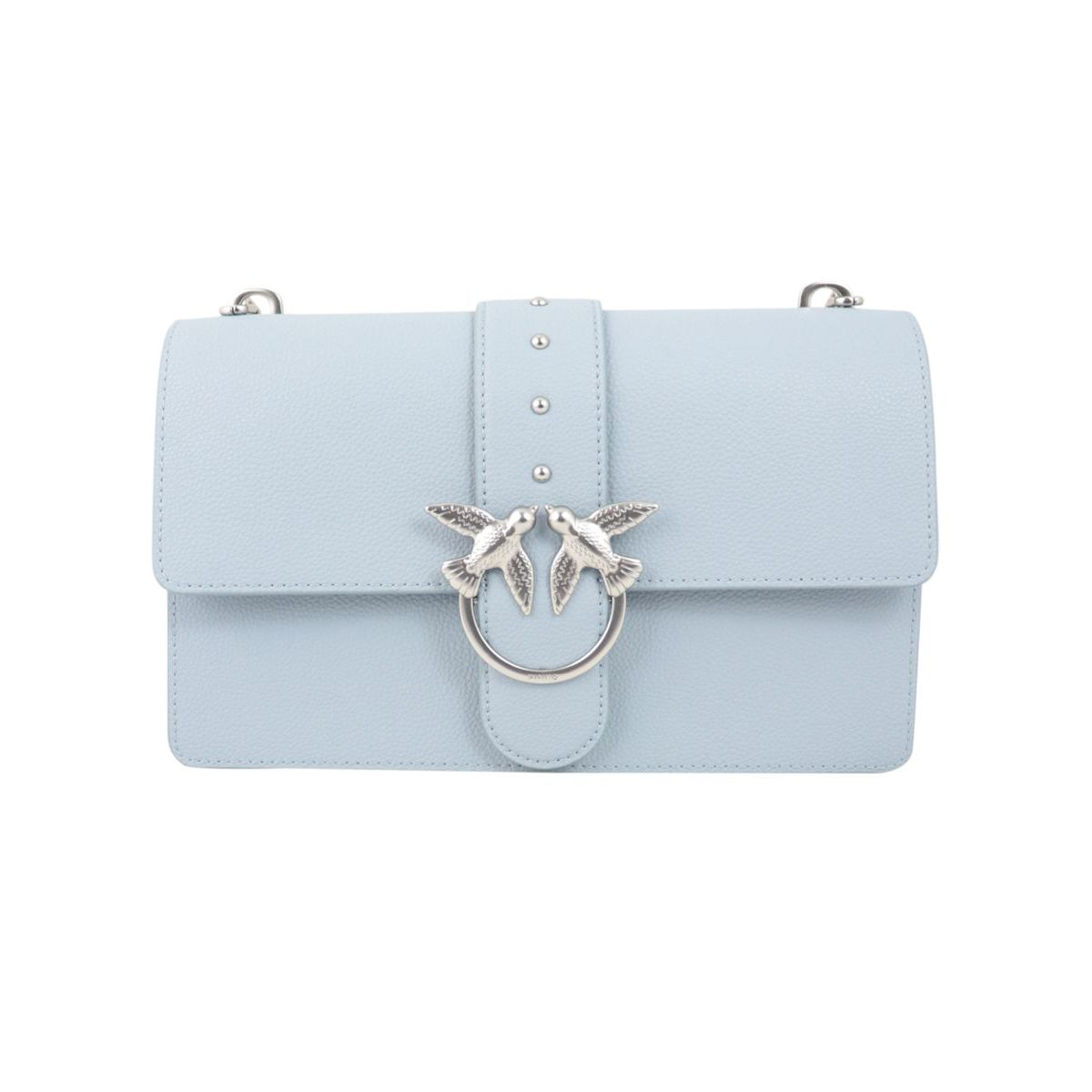 Love Classic bag in textured leather Light blue Pinko