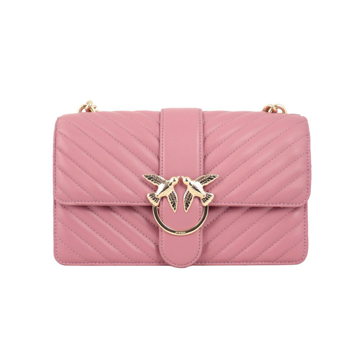 Love Classic leather bag with stitching Antique pink Pinko