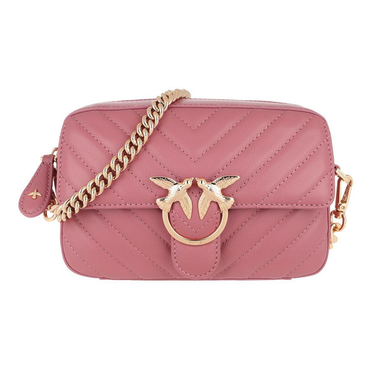 Love Square leather bag with stitching Antique pink Pinko