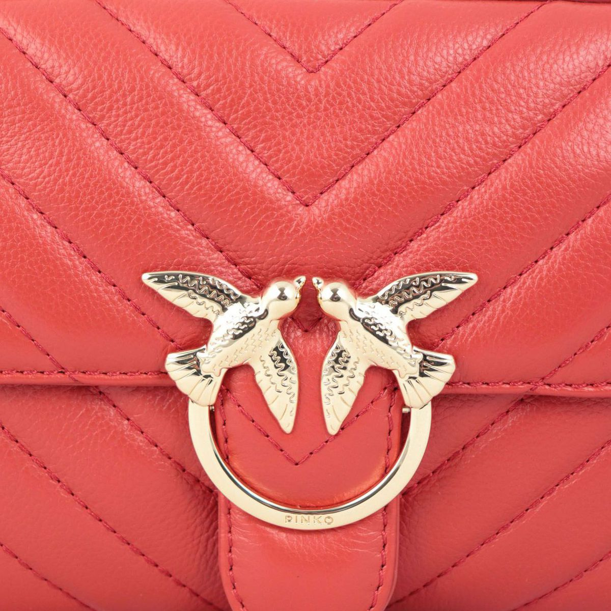 Love Square leather bag with stitching Red Pinko