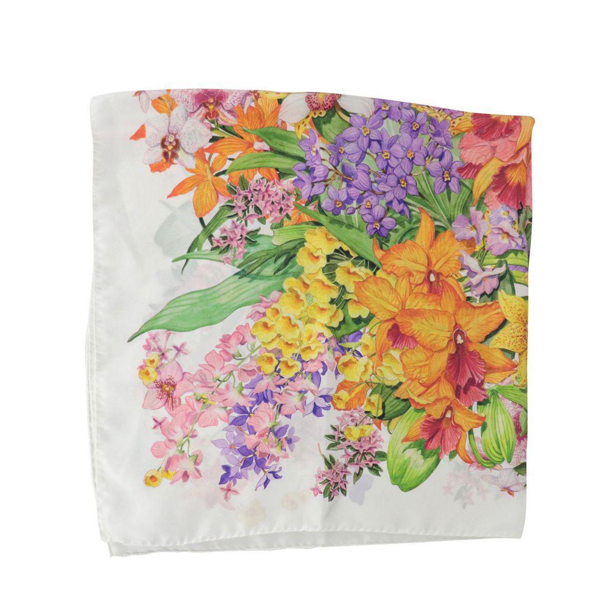 Silk scarf with flower print White / pink Altea