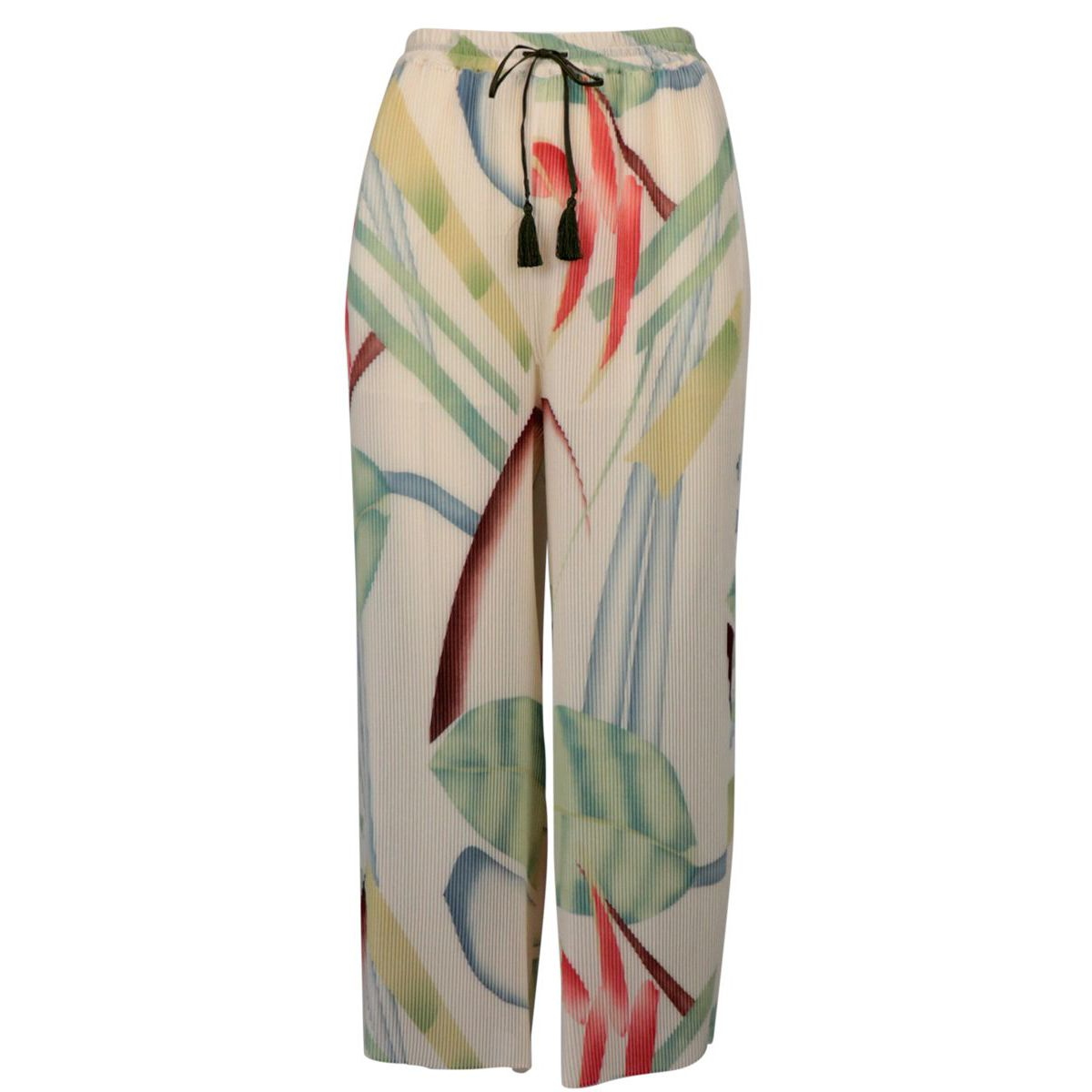 Wide trousers in pleated fabric with multicolor pattern Cream Etro