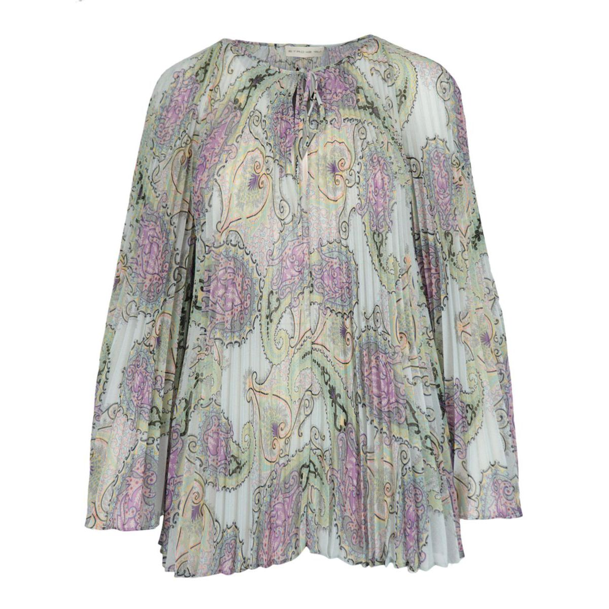 Long-sleeved blouse in patterned pleated voile Heavenly Etro