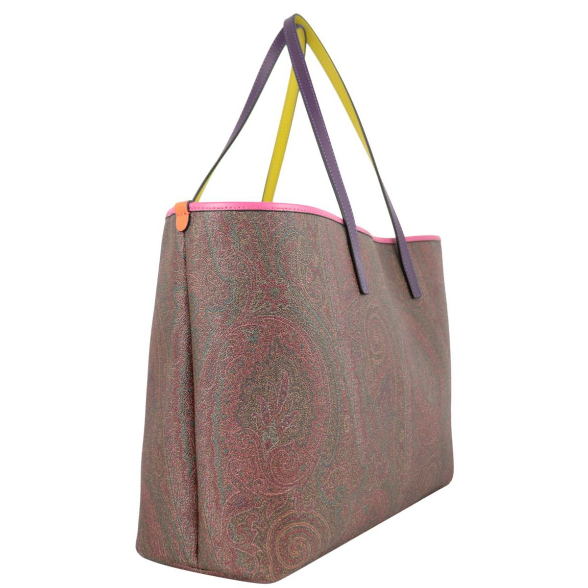 Cotton coated shopping bag with Paisley print Fuchsia Etro