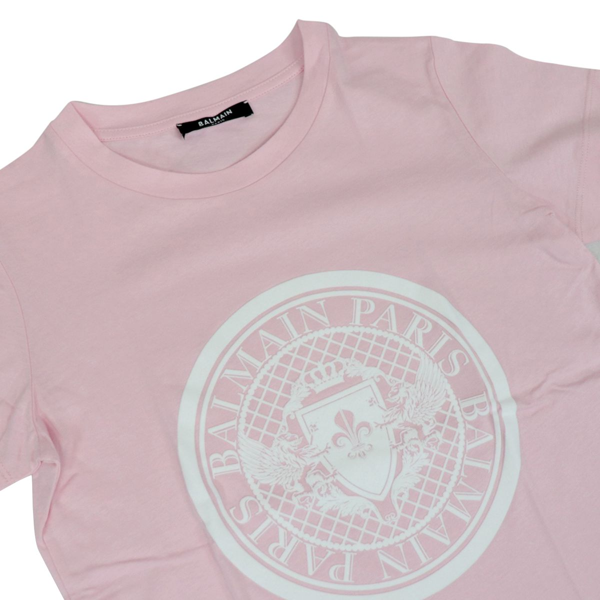Short-sleeved cotton T-shirt with emblem print Rose BALMAIN