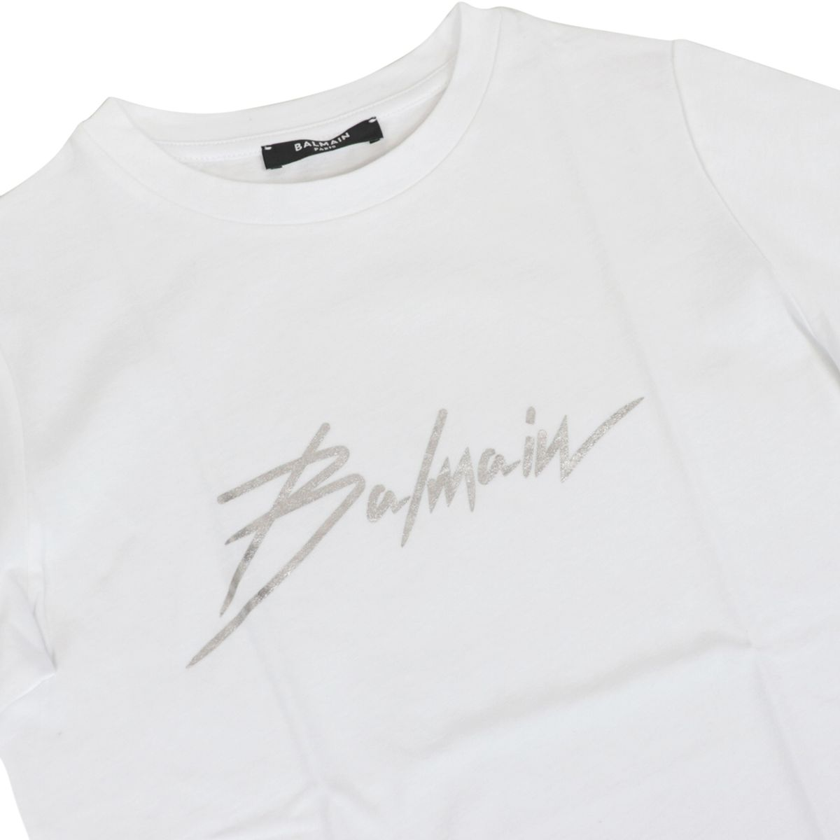 Short sleeve t-shirt in cotton with metal signature White BALMAIN