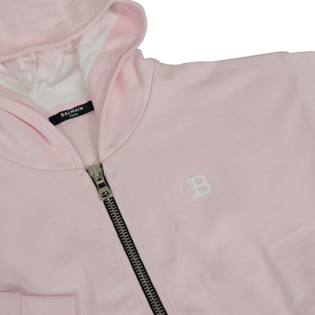 Short cotton sweatshirt with hood and logo writing on the back Rose BALMAIN