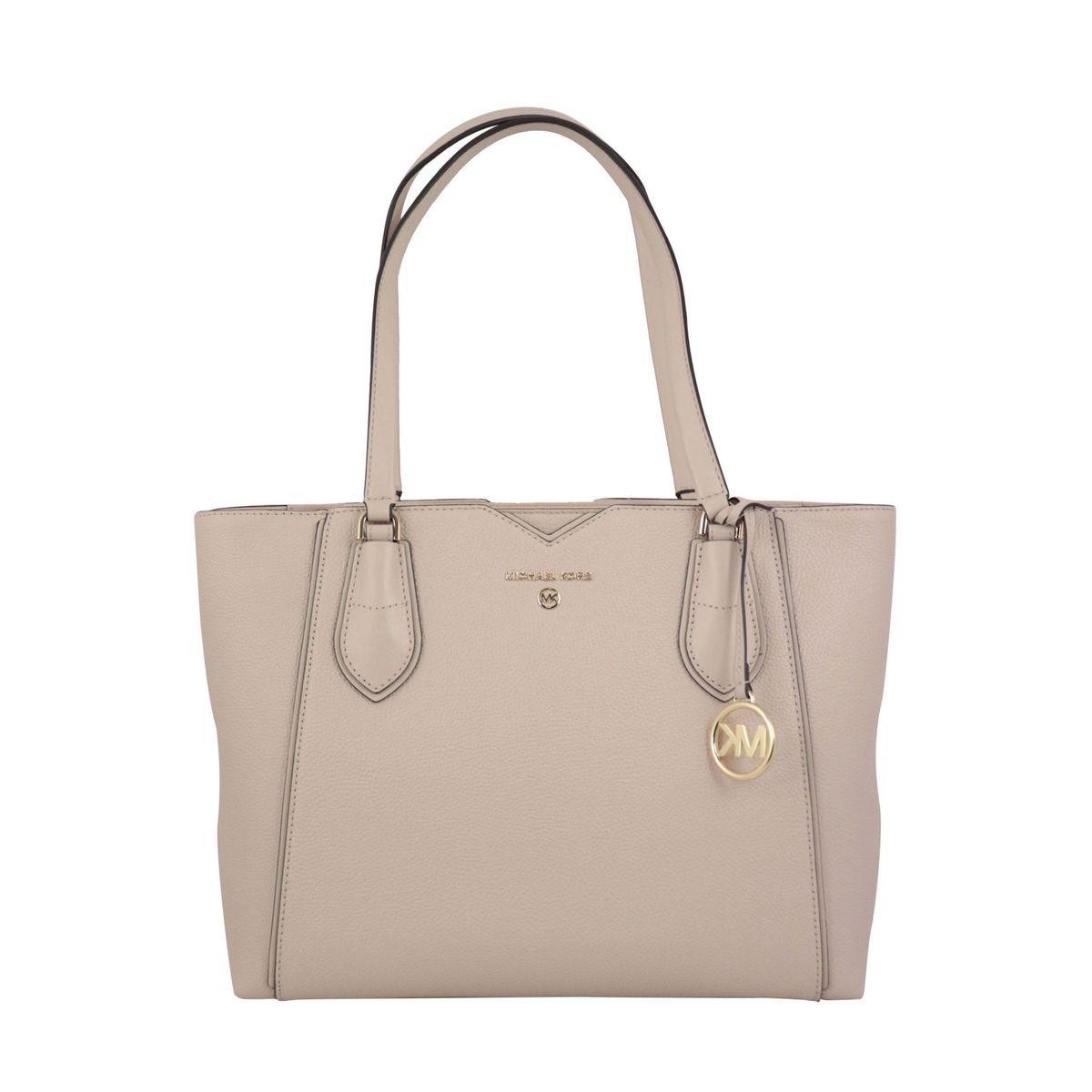 Medium Mae tote bag in grained leather Rosa / powder Michael Kors