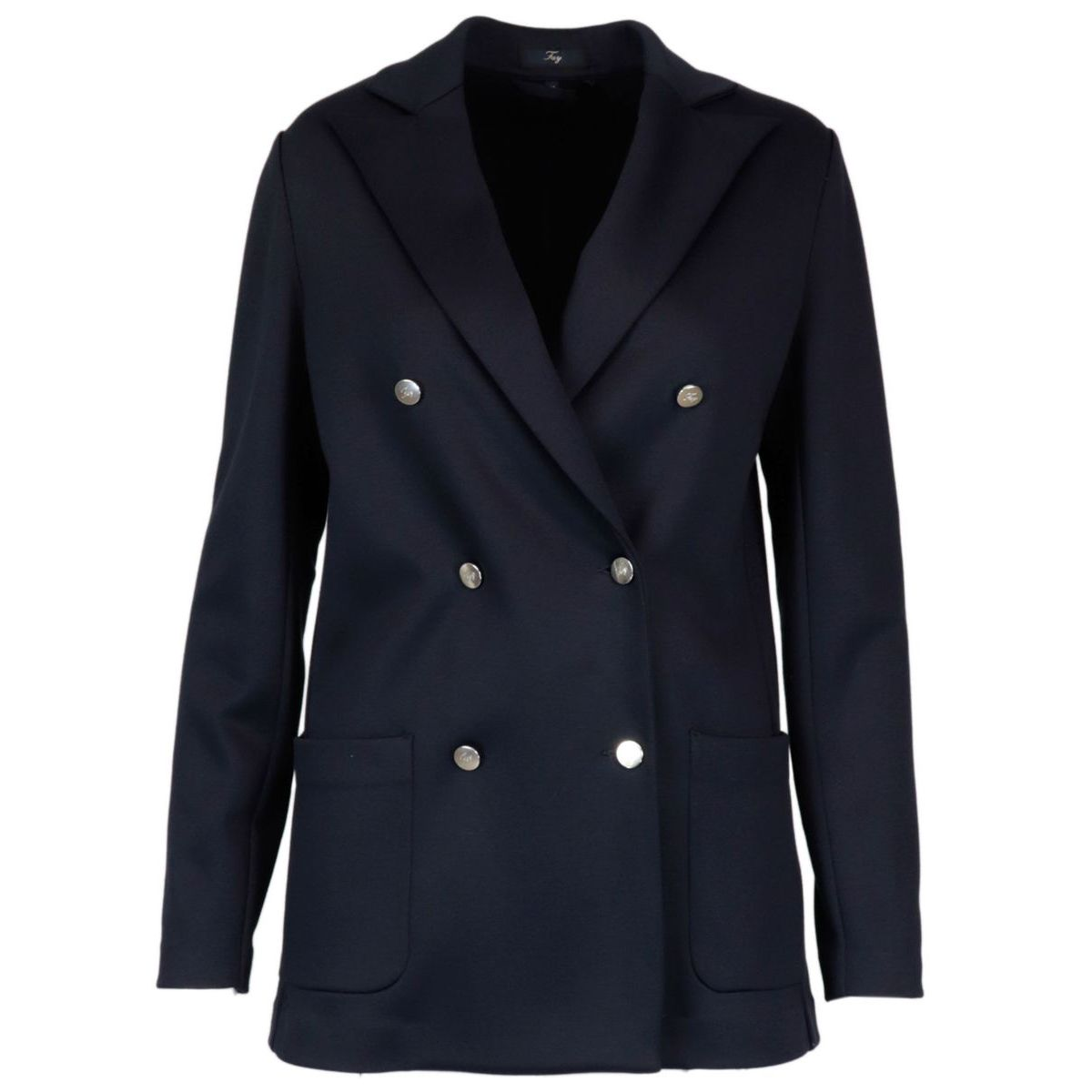 Double-breasted jacket in Milan stitch Blue Fay