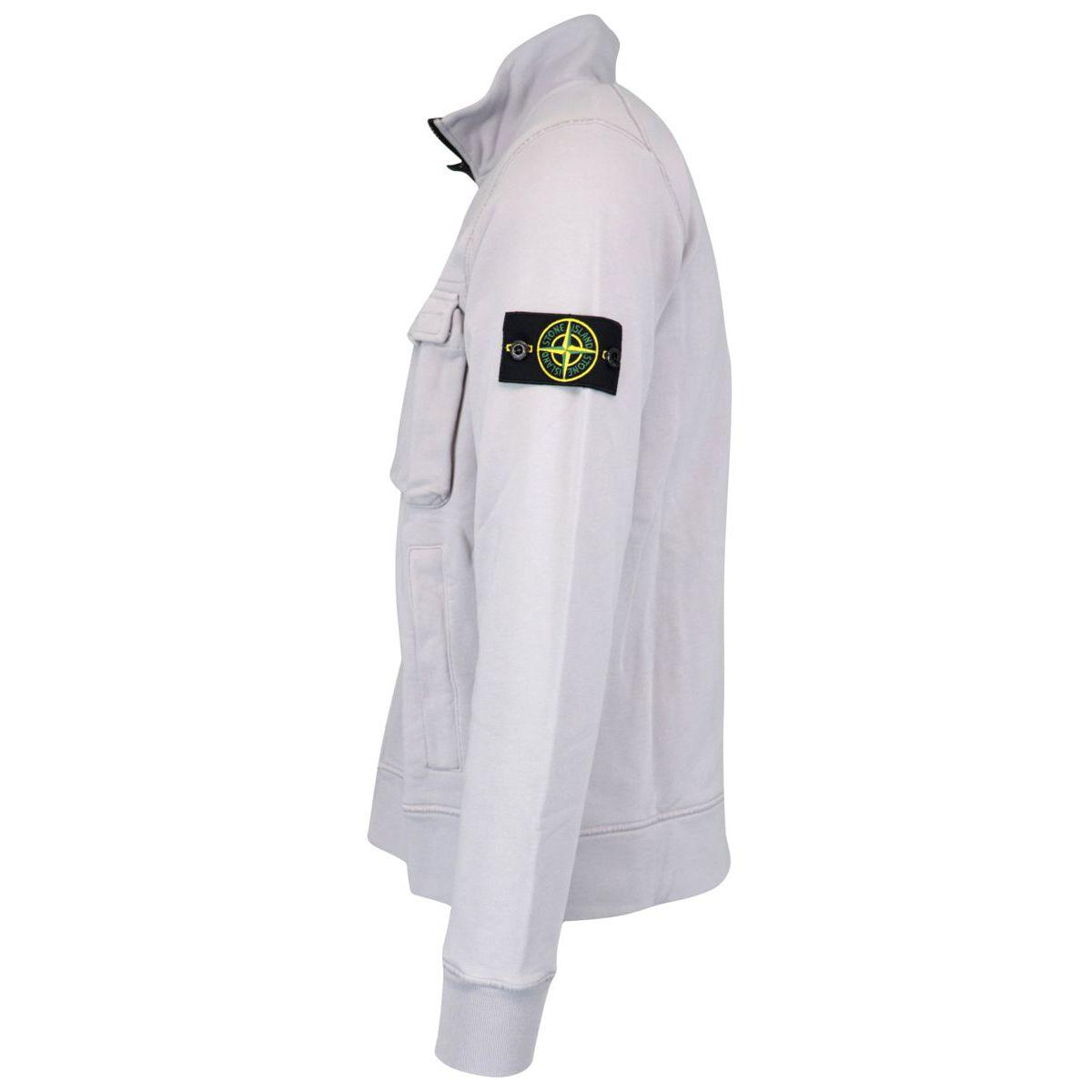 Full zip cotton sweatshirt Powder Stone Island