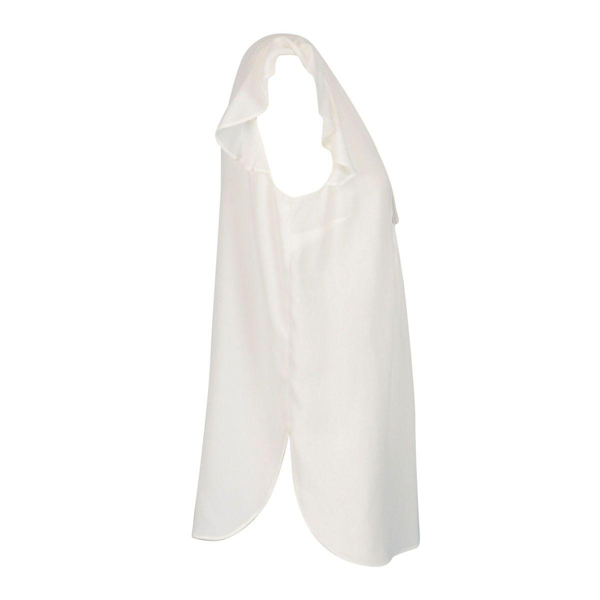Blusa in misto seta con giro manica volant Bianco Twin-Set