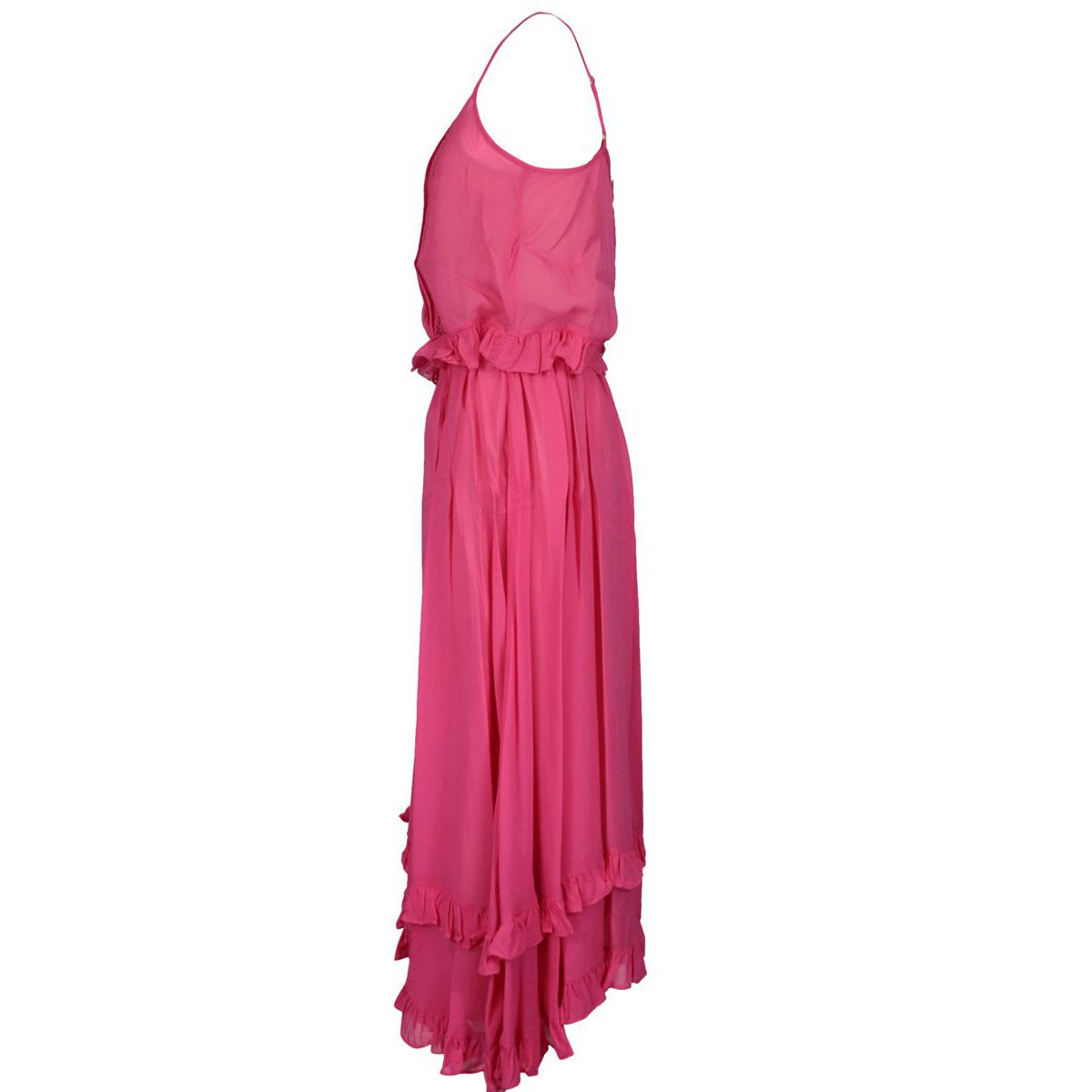 Long georgette dress with embroidery and flounces Fuchsia Twin-Set