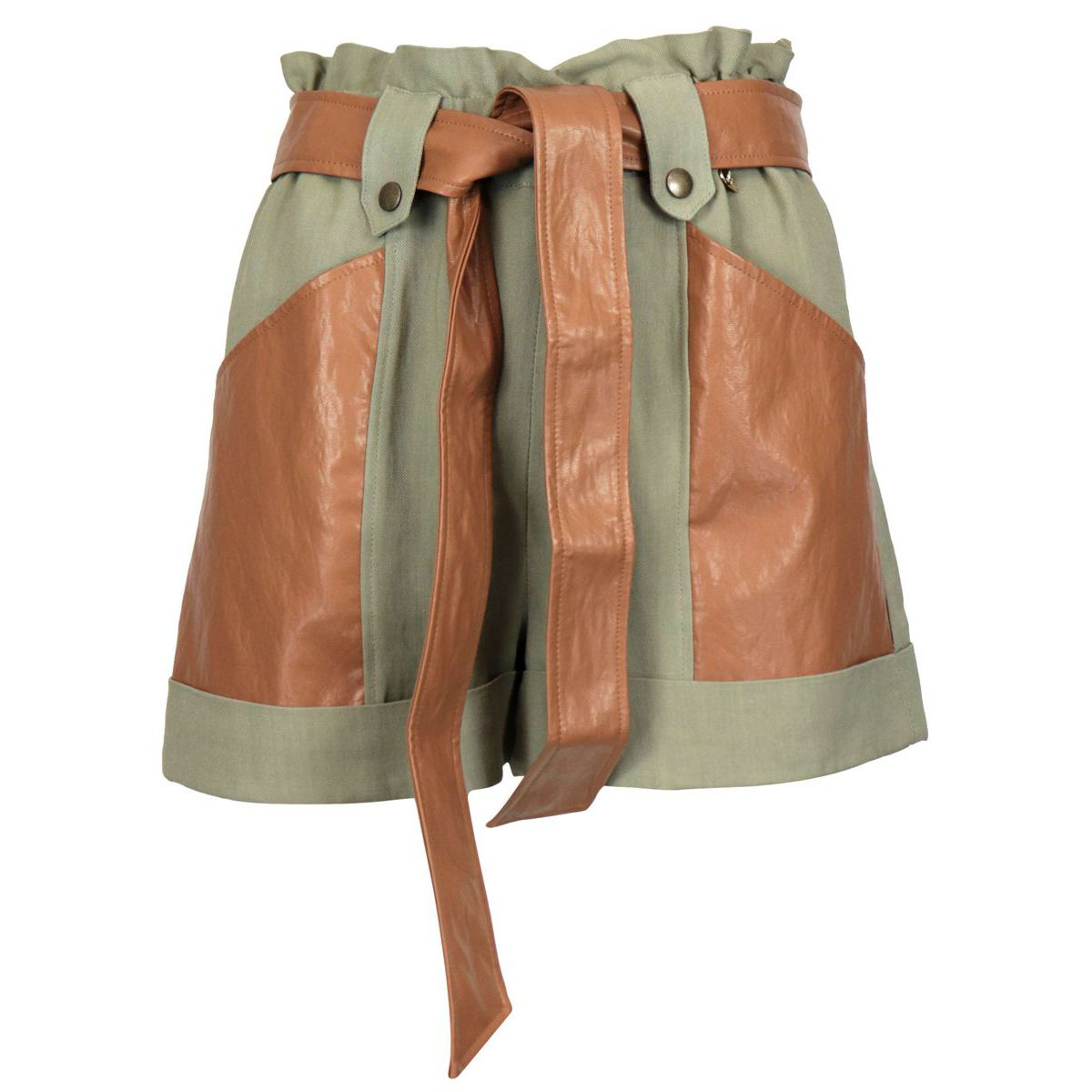 Linen and viscose canvas shorts with pockets and belt in imitation leather Olive Twin-Set