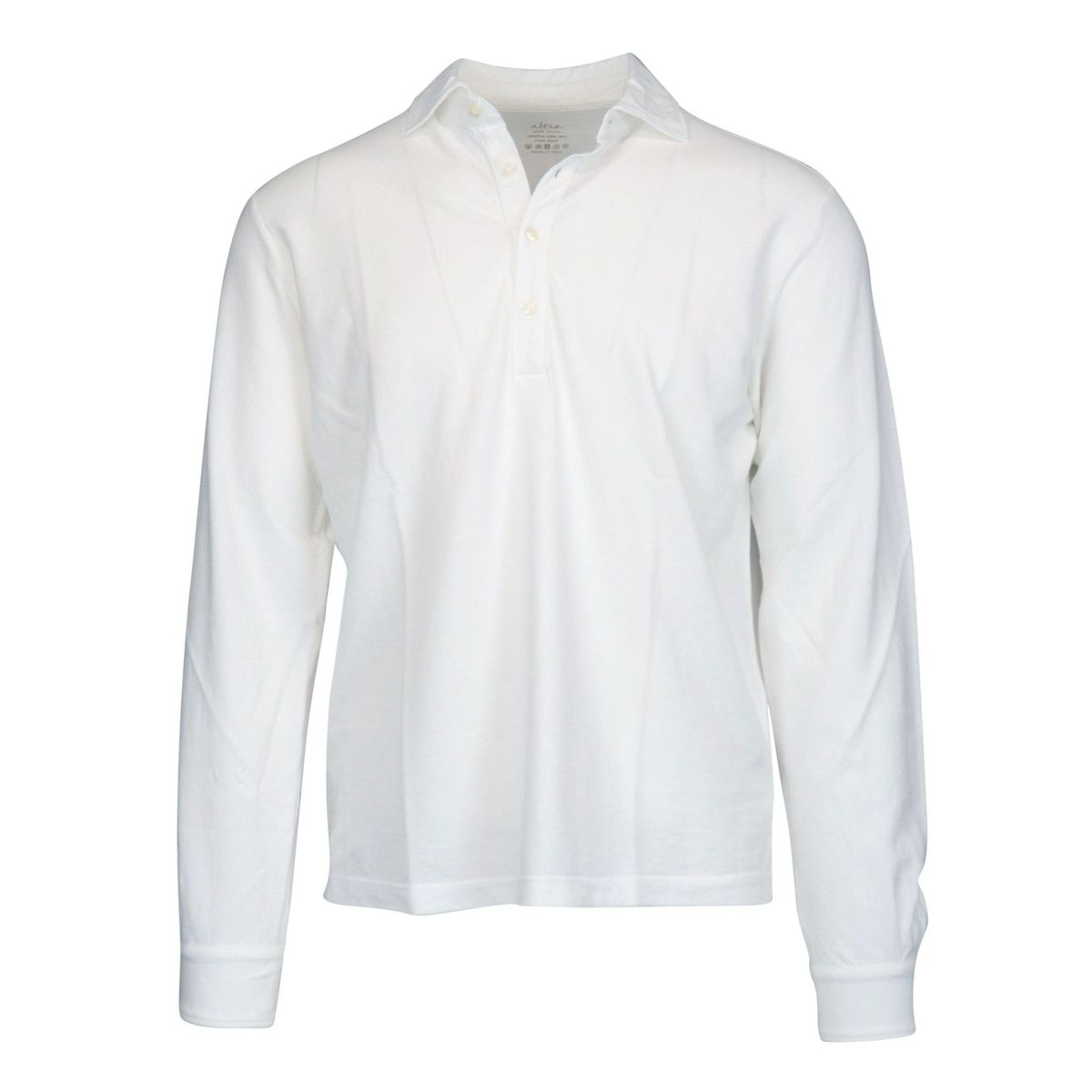 Glacial long-sleeved cotton polo shirt White Altea