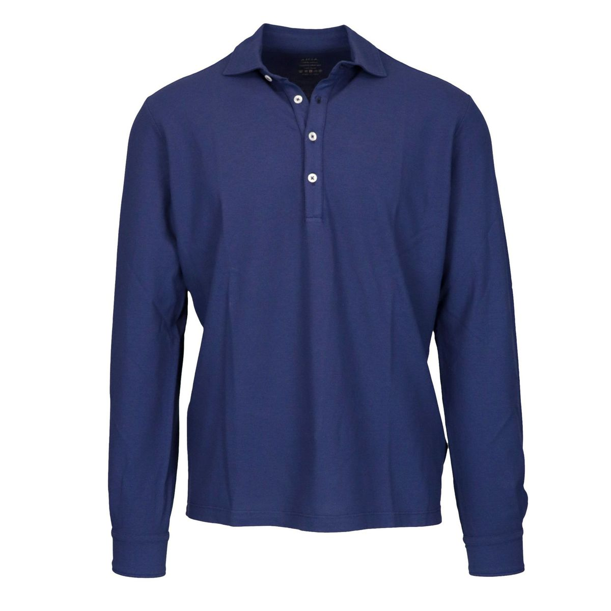 Glacial long-sleeved cotton polo shirt Blue Altea
