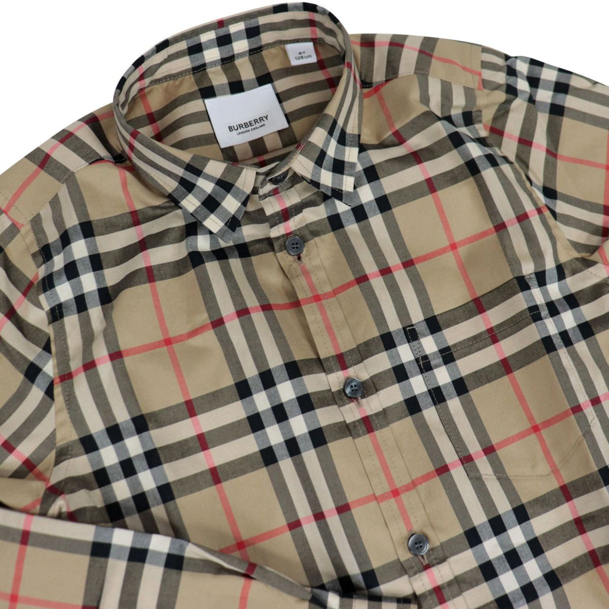 Long-sleeved cotton shirt with check pattern Beige check Burberry