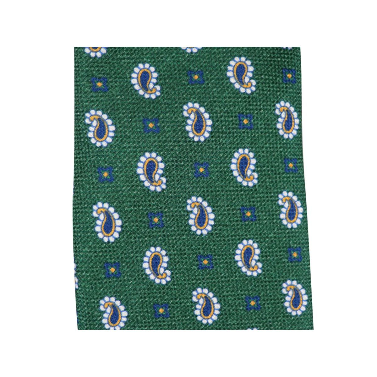 Silk tie with paisley motif Green Altea