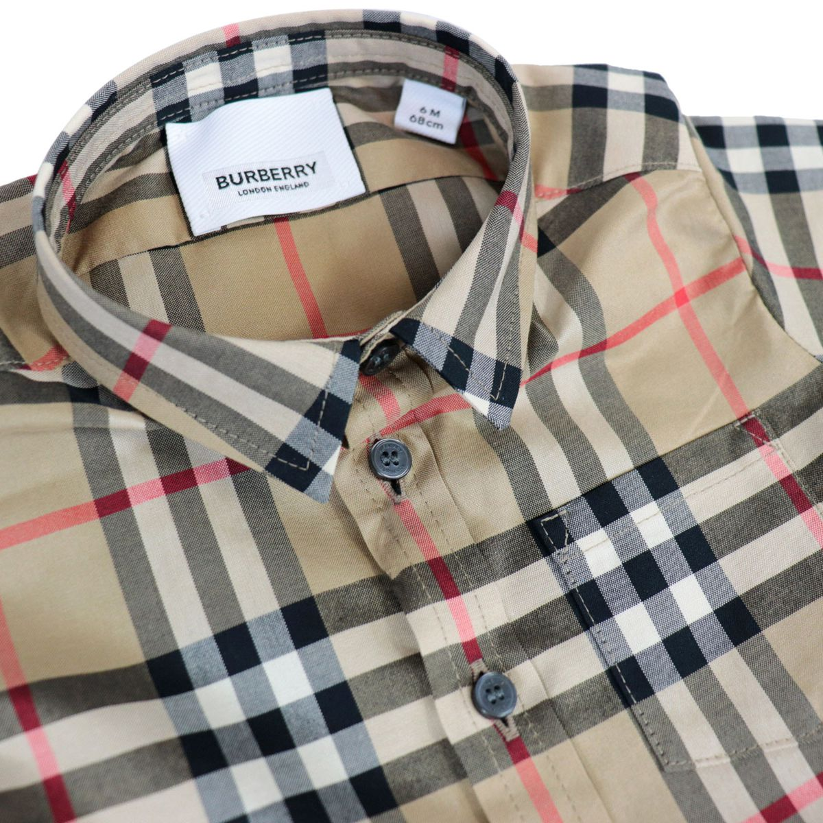 Fredrick cotton shirt with check motorbike Beige check Burberry