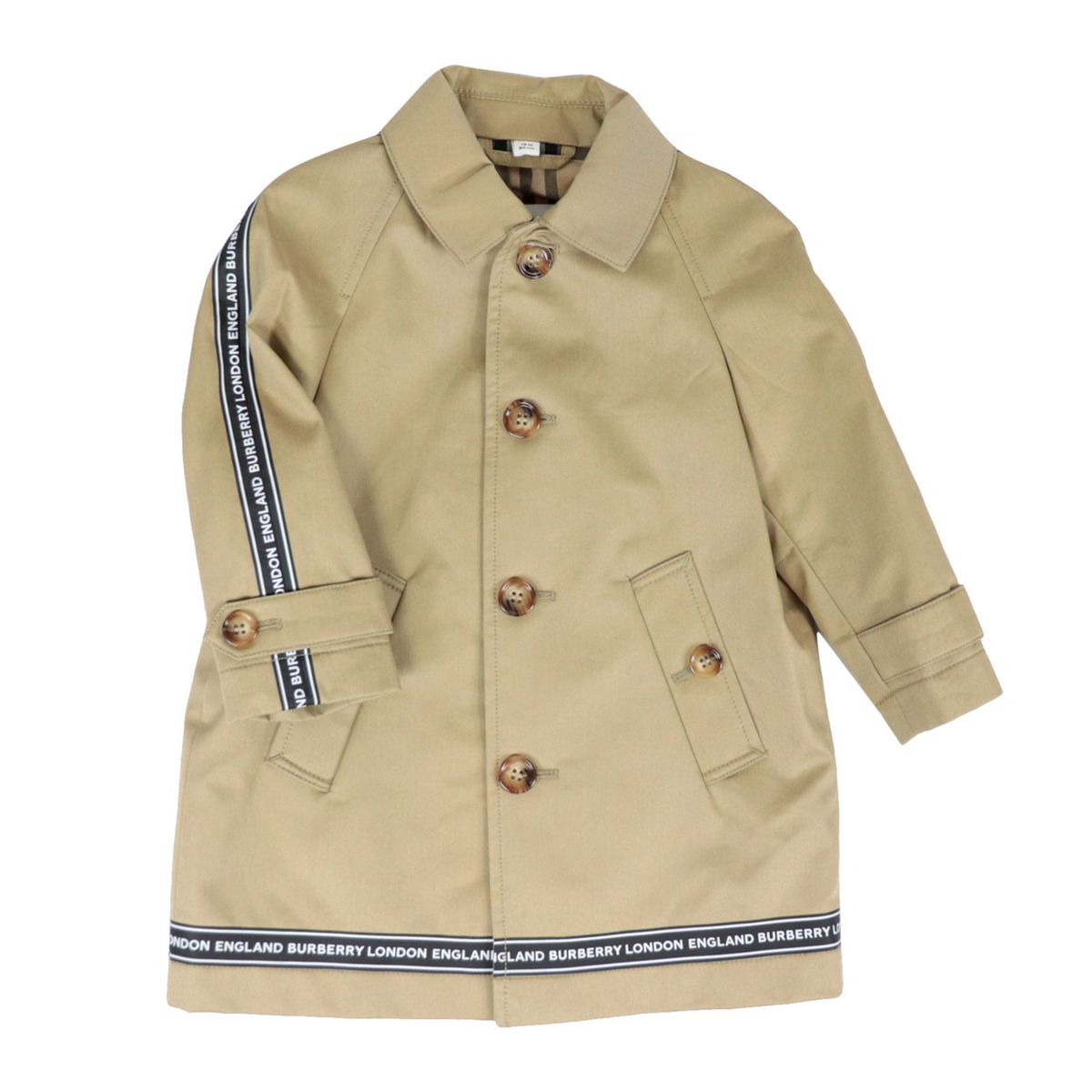 Bradley coat in cotton with internal check fantasy lining and logoed side bands Honey Burberry