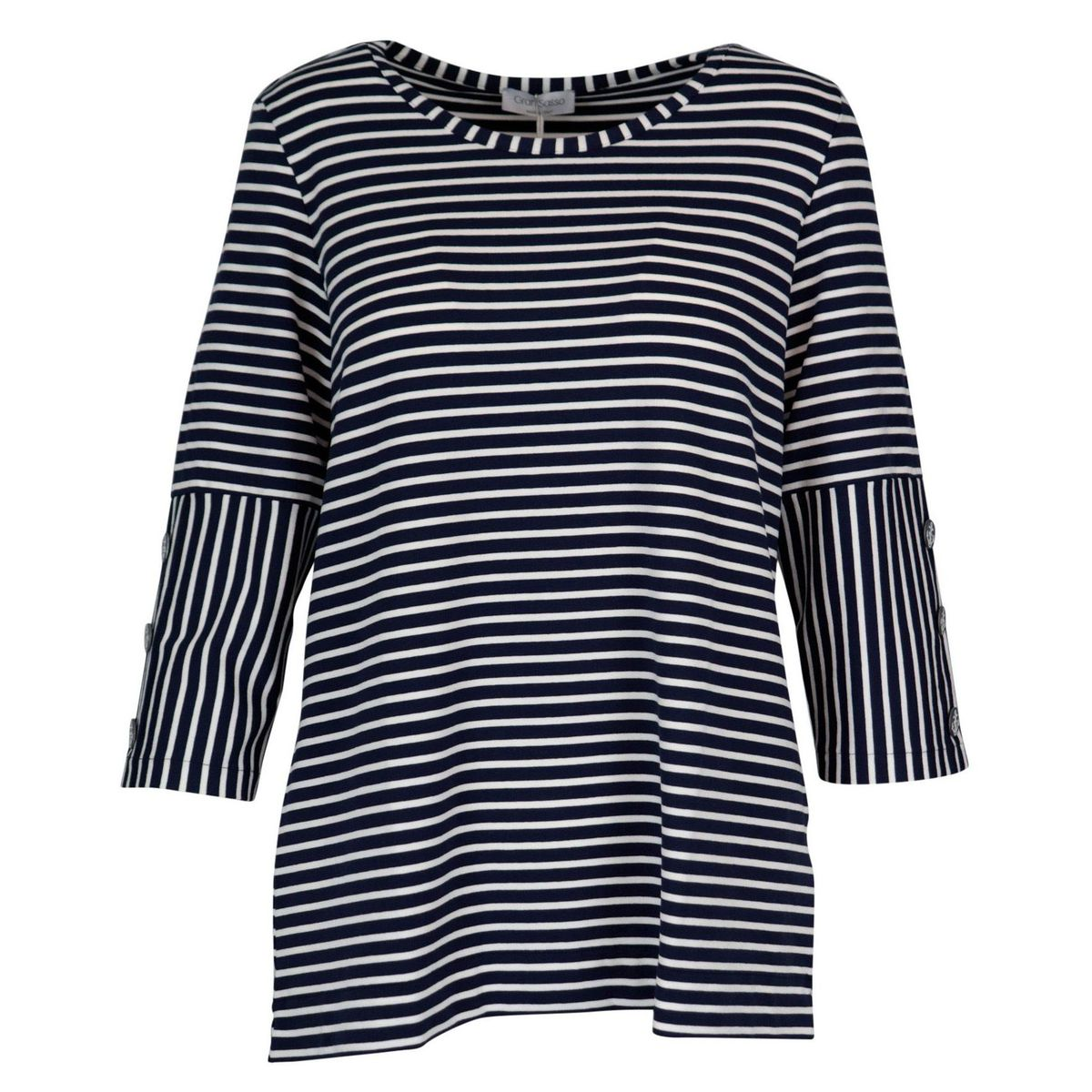 Stretch viscose sweater with striped pattern and 3/4 sleeves Blue / white Gran Sasso
