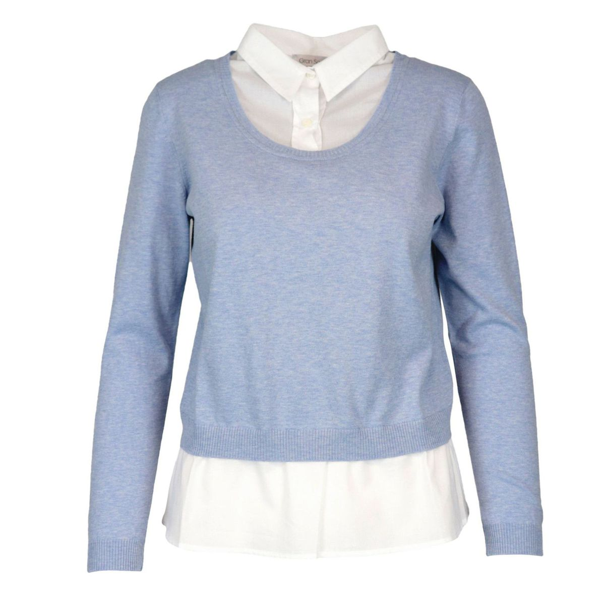 Cotton yarn sweater with integrated shirt Light blue Gran Sasso