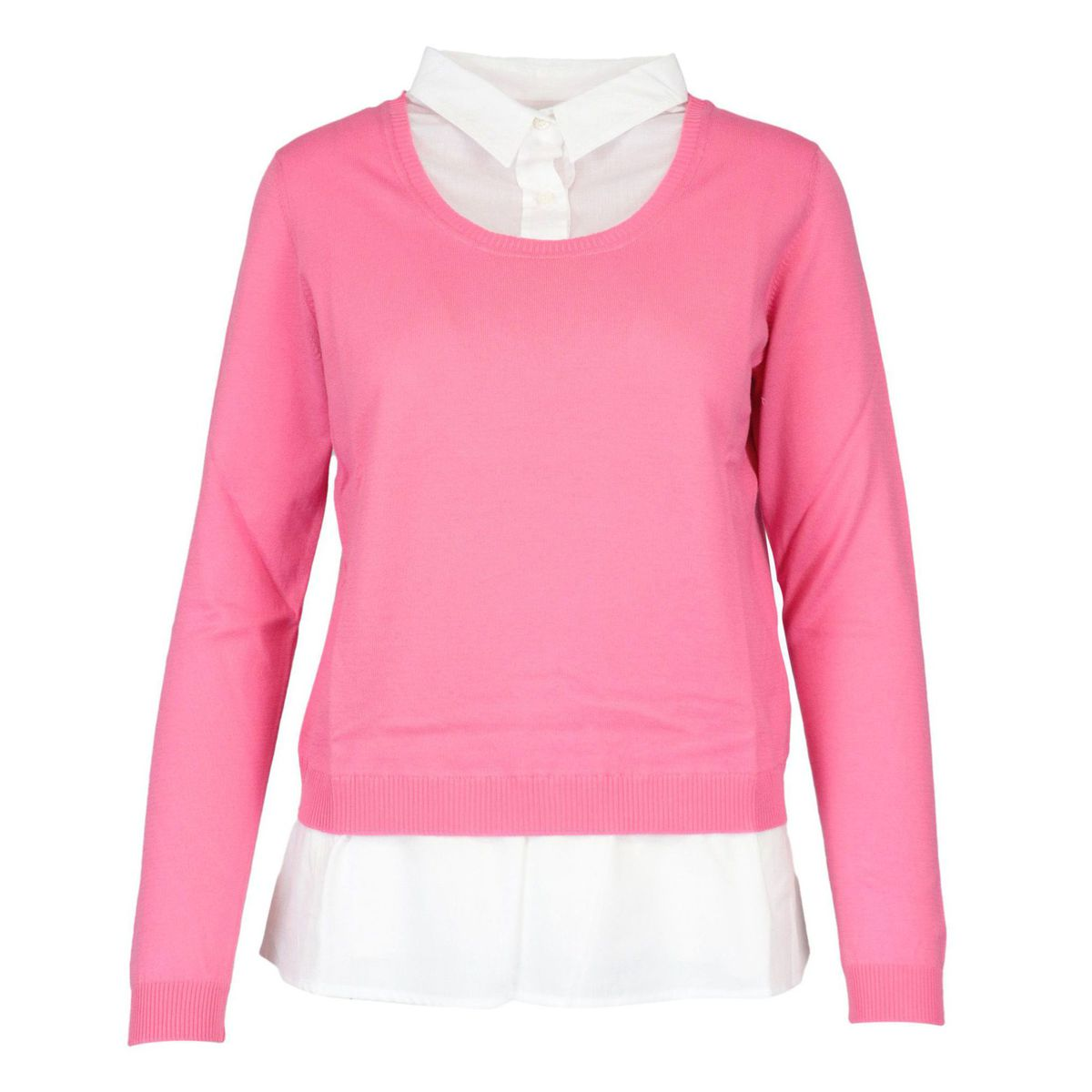 Cotton yarn sweater with integrated shirt Deep pink Gran Sasso