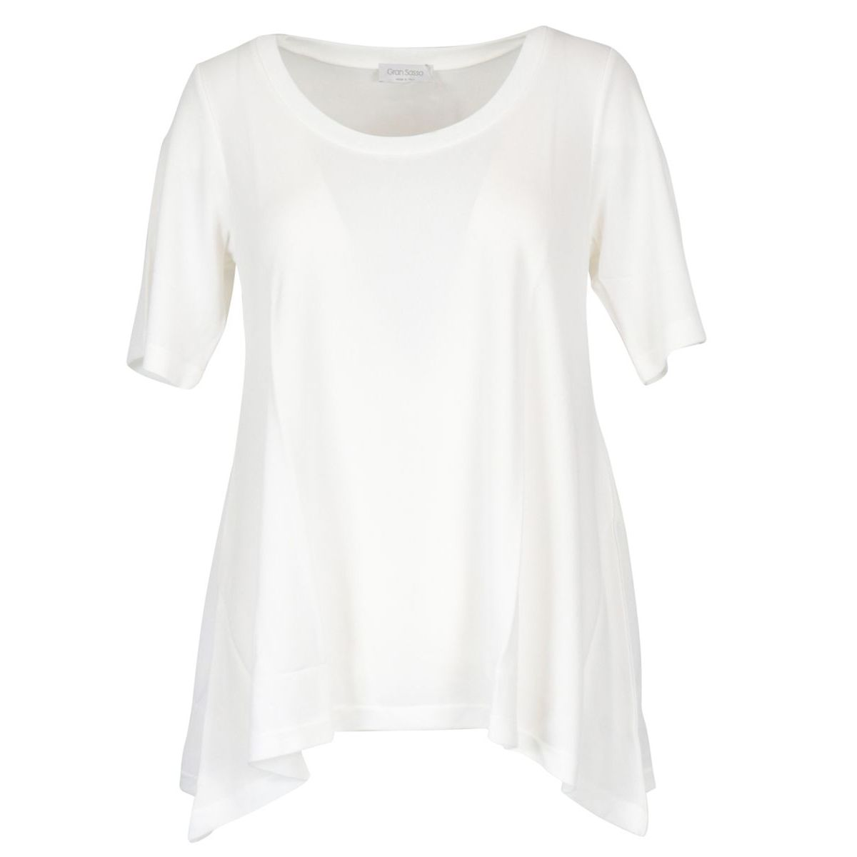 Crew neck sweater in viscose with asymmetrical hem White Gran Sasso