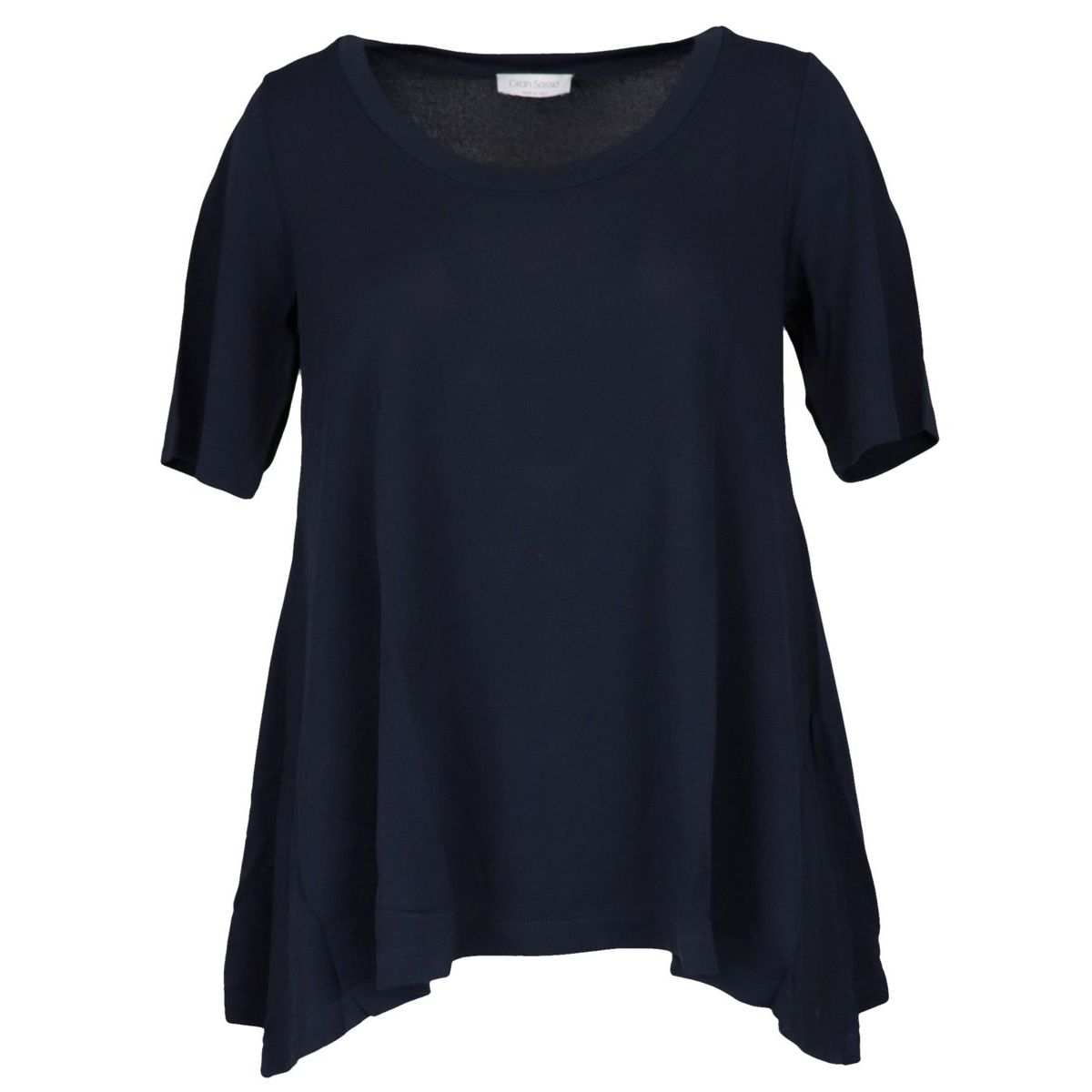Crew neck sweater in viscose with asymmetrical hem Blue Gran Sasso