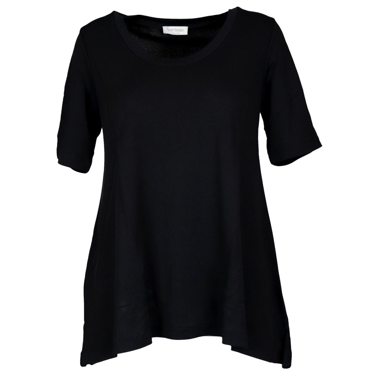 Crew neck sweater in viscose with asymmetrical hem Black Gran Sasso