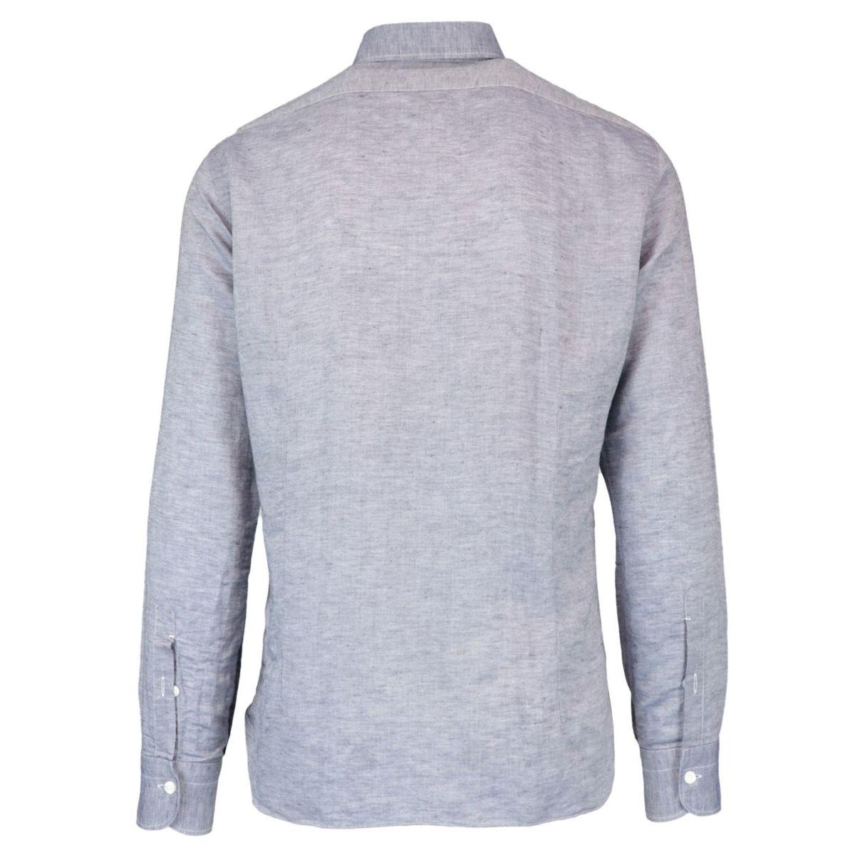 Slim-fit linen and cotton shirt with denim effect Denim Barba Dandy Life
