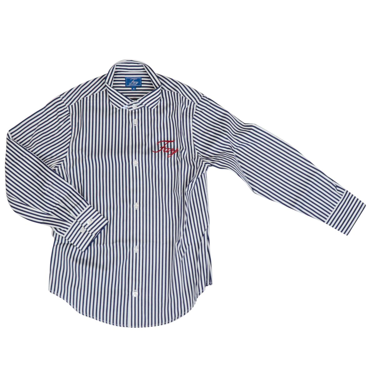 Striped cotton shirt with large embroidered logo White / blue Fay