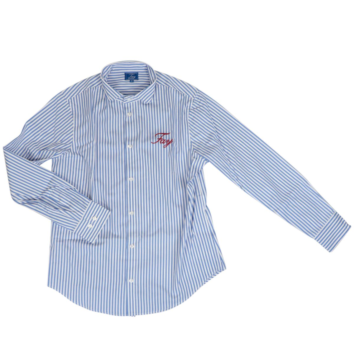 Striped cotton shirt with large embroidered logo White / light blue Fay