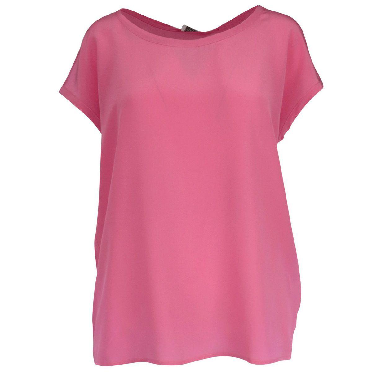 Crew neck silk sweater with cap sleeves Pink Gran Sasso