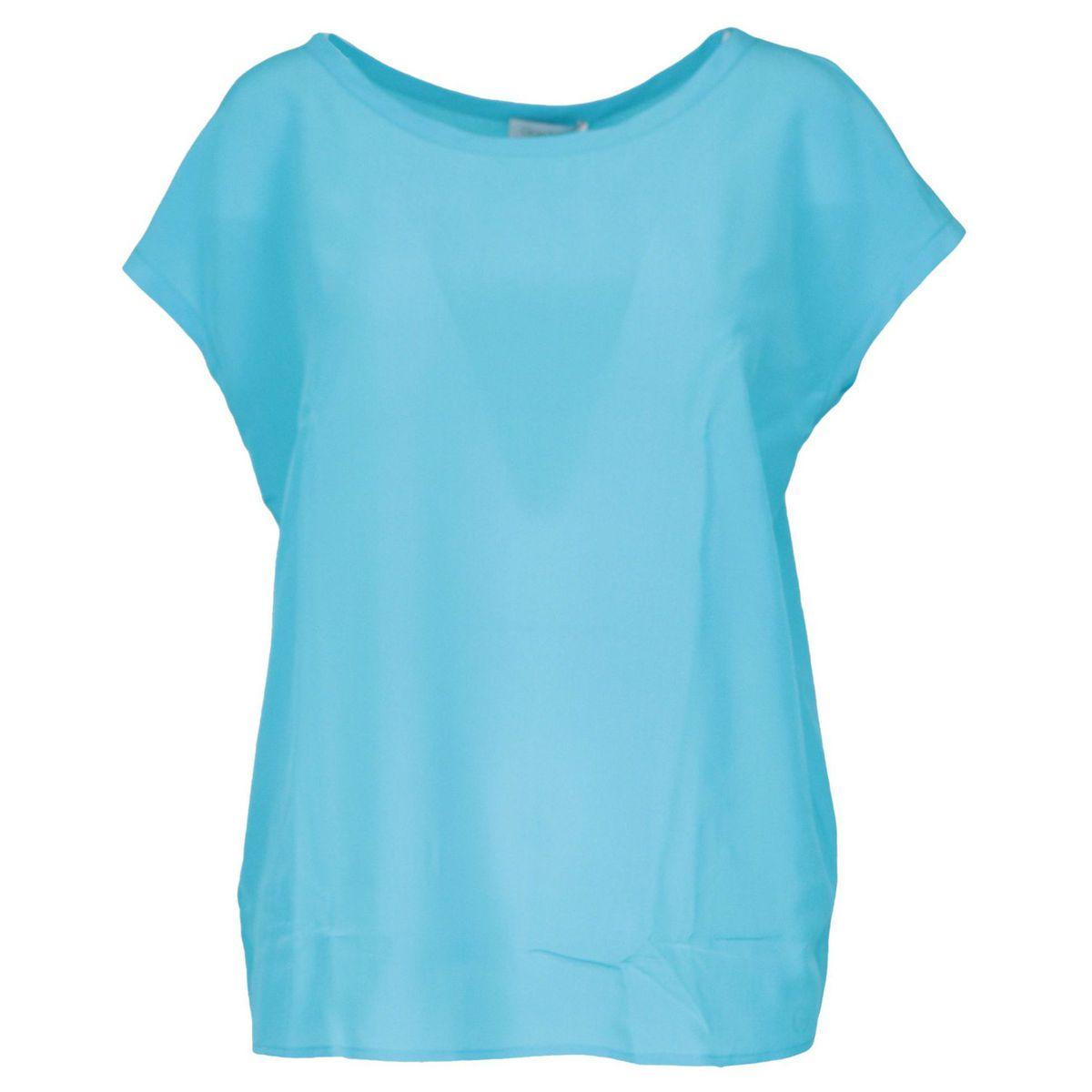 Crew neck silk sweater with cap sleeves Turquoise Gran Sasso