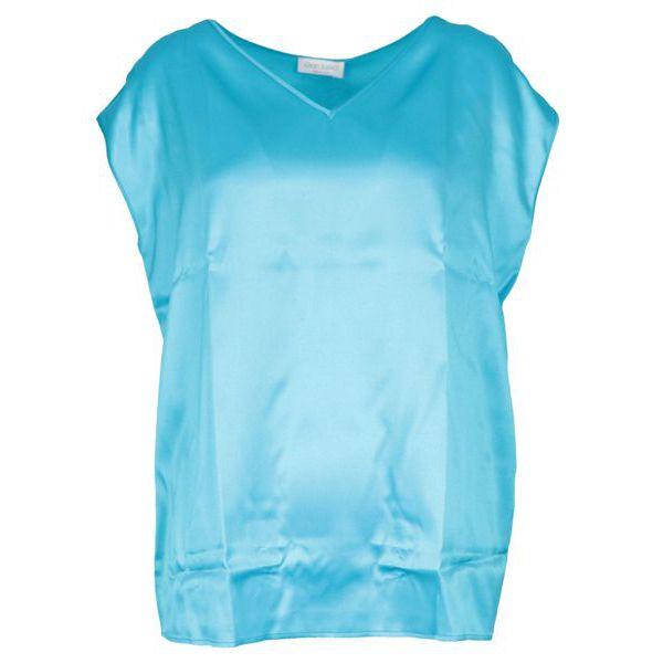 Short-sleeved V-neck silk shirt Turquoise Gran Sasso