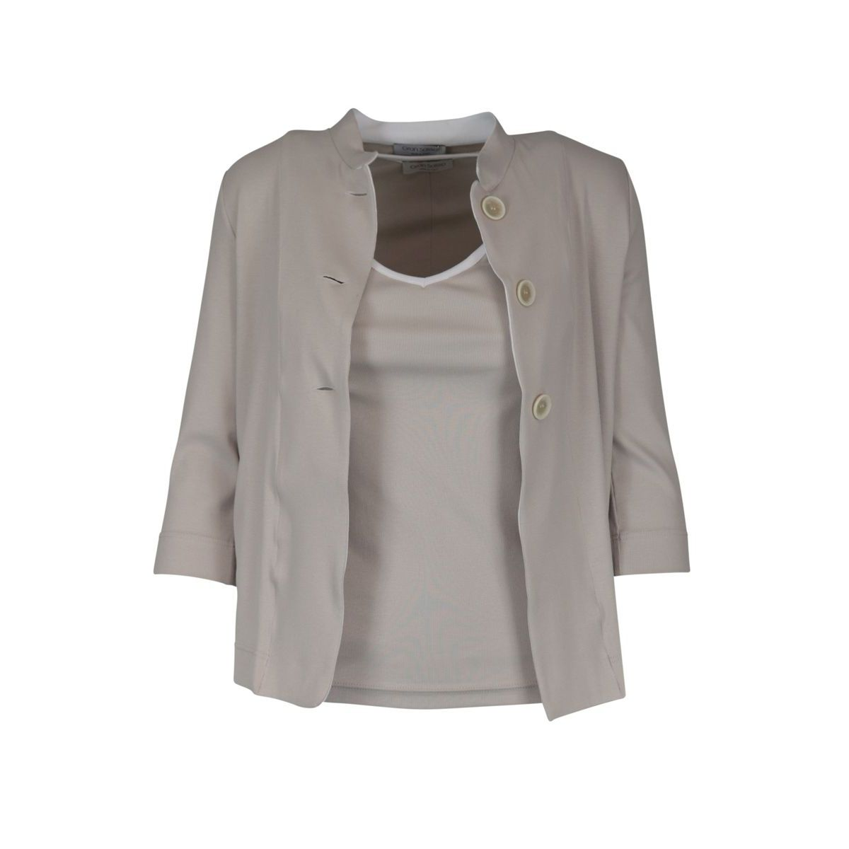 Complete jacket and tank top in stretch cotton Sand Gran Sasso