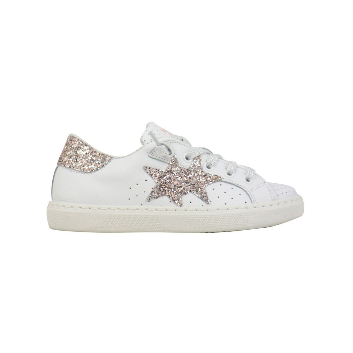 Cassette bottom sneakers with glitter details White / pink 2Star