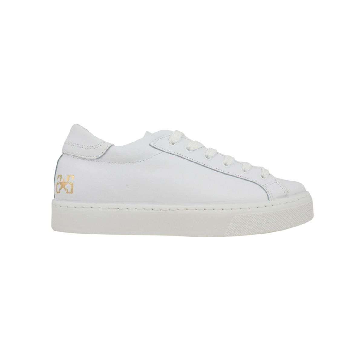 Leather sneakers with box bottom and small logo White / gold 2Star