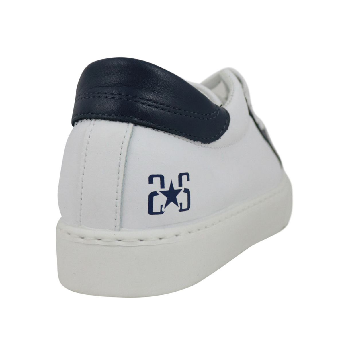 Two-tone leather sneakers with logo White / blue 2Star